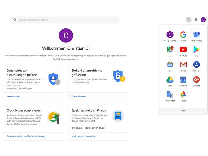 Wählen Sie Google My Business rechts oben aus
